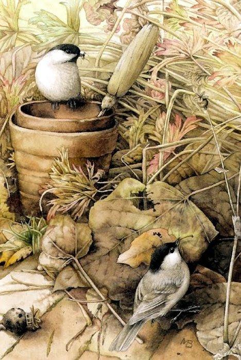 ilustración vintage. pájaros y maceta (468x700, 106Kb)