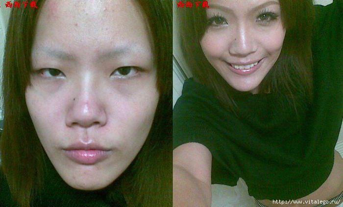 Фото японок с макияжем и без