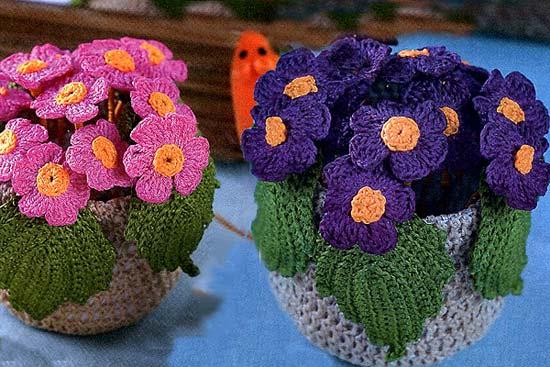 Симпатичные цветочки в вязаном