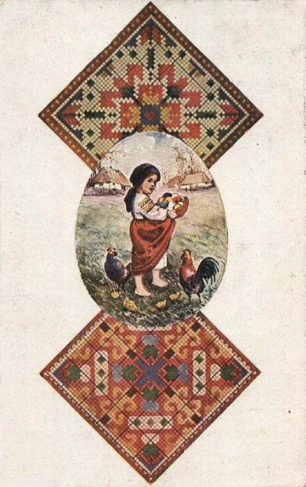 Винтажные открытки к Пасхе сделанные в России 19 (440x700, 325Kb)