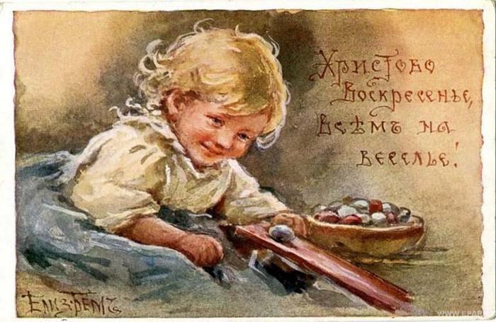Винтажные открытки к Пасхе сделанные в России 25 (700x455, 104Kb)