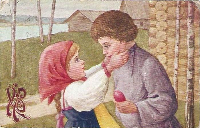 Винтажные открытки к Пасхе сделанные в России 61 (700x448, 111Kb)