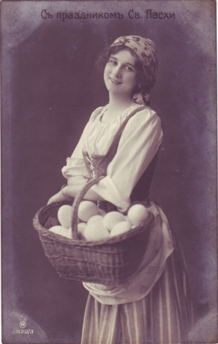 Винтажные открытки к Пасхе сделанные в России 163 (442x700, 216Kb)