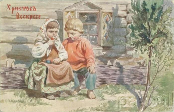 Винтажные открытки к Пасхе сделанные в России 189 (700x452, 84Kb)