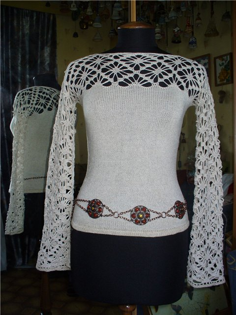 Вязание в сочетании с тканью