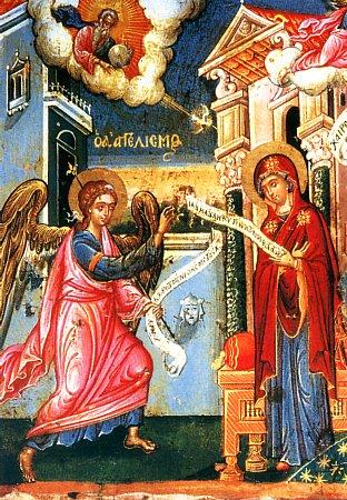 Благовещение. Икона XVIIв. о. Патмос (312x450, 67Kb)
