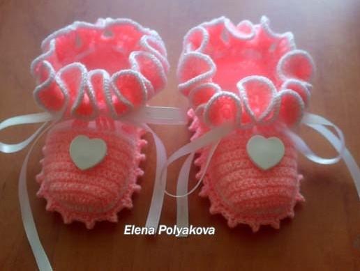 Туфельки-пинетки крючком с
