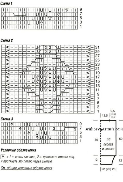 Схемы вязания спицами узоров.