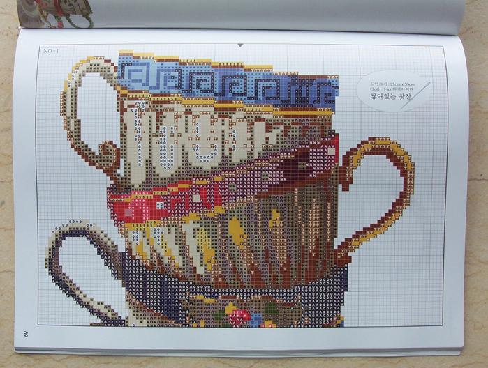 схема вышивки чайные чашки