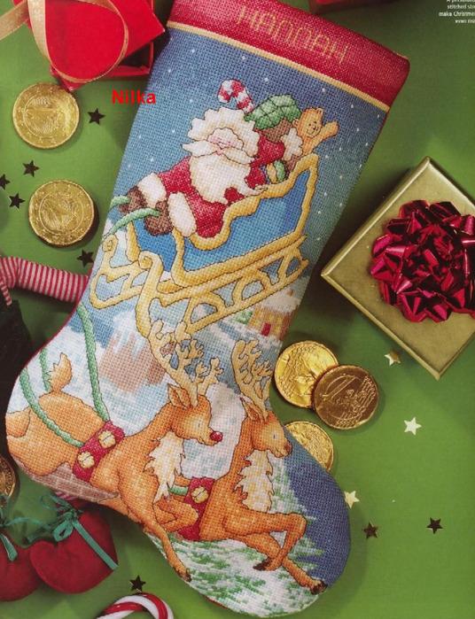Вышивка рождественские сапожки