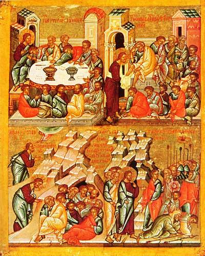 Тайная вечеря, Омовение ног, Моление о чаше, Предание Иуды Конец 15 - начало 16 века (500x599, 59Kb)