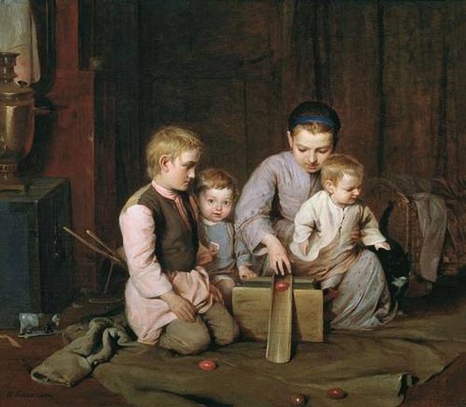 Николай Кошелев. Дети, катающие пасхальные яйца. 1855. (670x586, 266Kb)