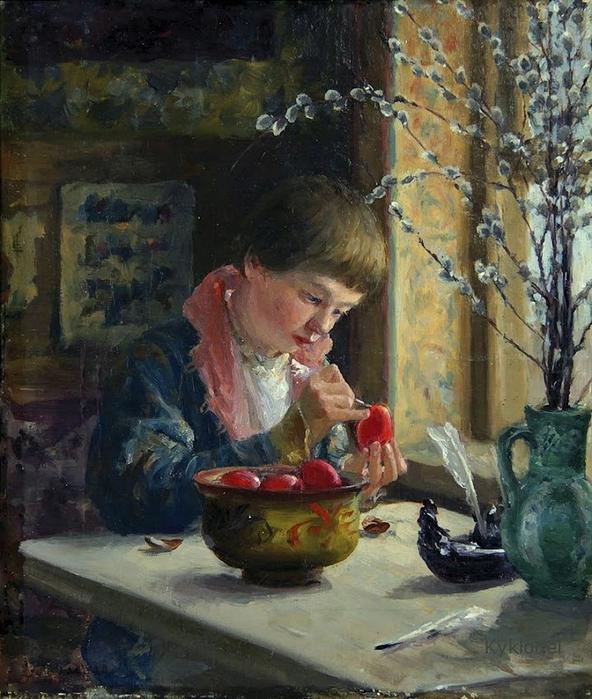 Милорадович Сергей Дмитриевич (1851 -1943) Приготовление к пасхе 1910 (592x700, 338Kb)