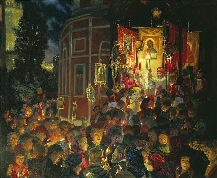 Владимир Егорович Маковский Молебен на Пасху 1887 (700x575, 361Kb)