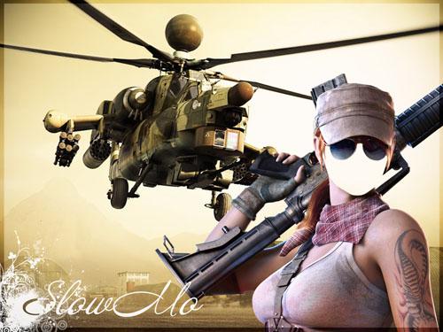 SlowMo, Pphotoshop, Templates for photoshop, Psd, Psd-исходники, Шаблоны для фотошопа, Костюмы, Фотомонтаж, Девушка с автоматом, Вертолет/1334167243_Woman_Cover (500x375, 81Kb)