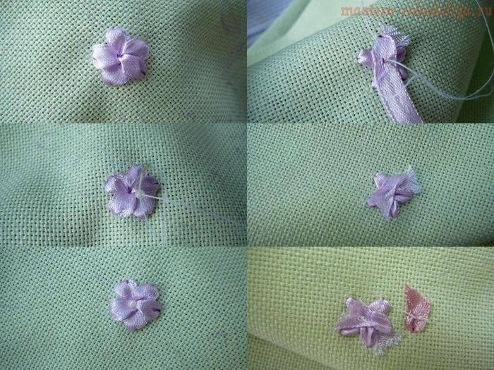 Вышивка лентами маленьких цветочков
