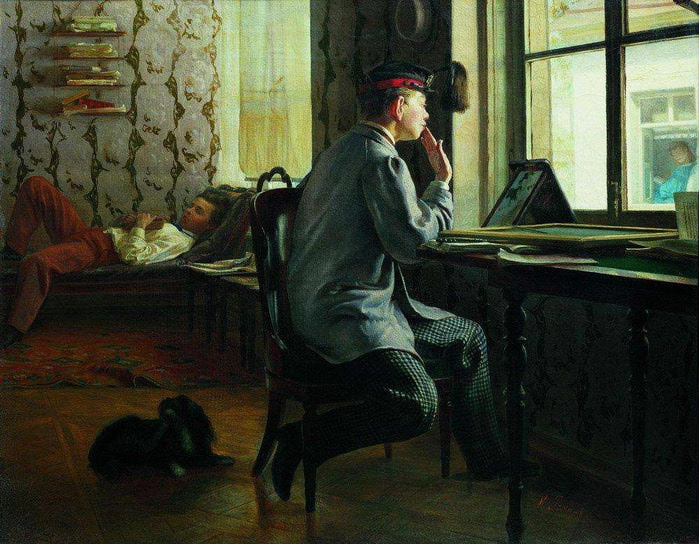 Приготовление к экзамену. 1864 (700x544, 128Kb)
