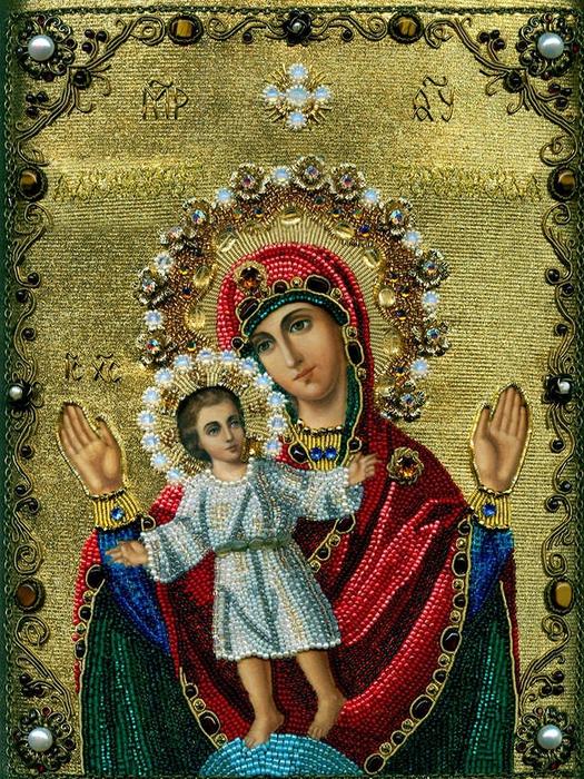Икона пресвятой богородицы вышивка бисером.