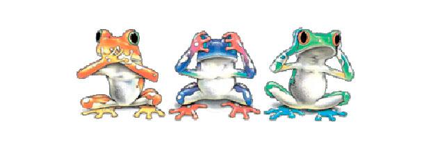"""Вышивка крестом:  """"Трио древесных лягушек """" ."""