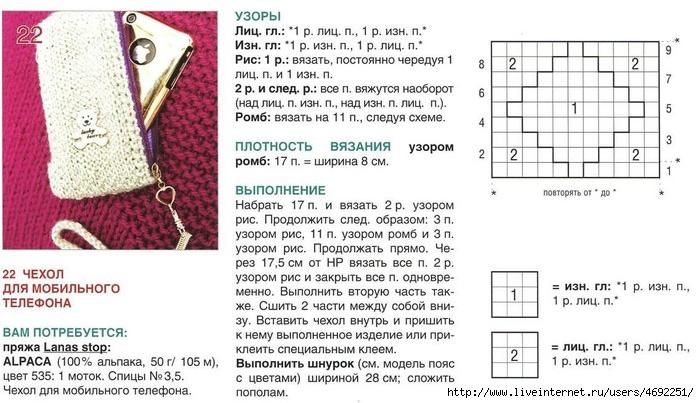 Схема вязания спицами телефонов