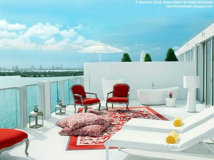 Удивительно красивый дизайн отеля Mondrian South Beach 8 (700x521, 78Kb)