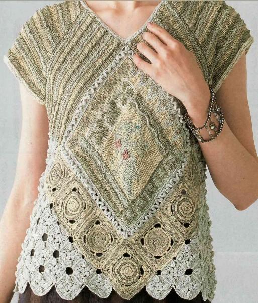 image hostВязаный женский  джемпер с короткими рукавами собранный из квадратных мотивов связанных крючком-азиатская модель/4683827_20120418_165454 (514x604, 144Kb)