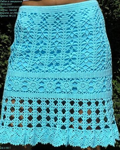 Летняя вязаная юбка цвета морской волны (410x512, 109Kb)