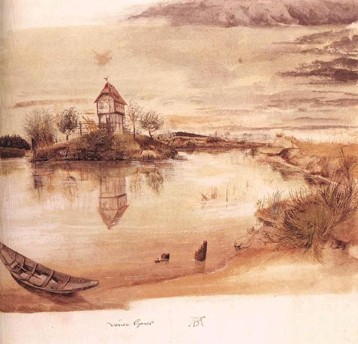 Дюрер - House by a Pond (c. 1496) (700x673, 75Kb)