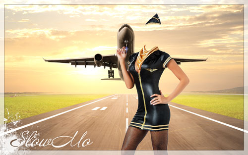 SlowMo, Pphotoshop, Templates for photoshop, Psd, Psd-исходники, Наряды, Костюмы, Шаблоны, Для фотошопа, Для фотомонтажа, Фотошаблоны, Фотомонтаж, Стюардесса, Самолет, Небо, stewardess, Hostess, Sky, Air/1334861633_stewardess (500x313, 56Kb)