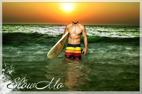 SlowMo, Pphotoshop, Templates for photoshop, Psd, Psd-исходники, Наряды, Костюмы, Шаблоны, Для фотошопа, Для фотомонтажа, Фотошаблоны, Фотомонтаж, Серфигист, Серфер, Доска, Море, Волны, Закат, Surfer, Sea, Board,Surfrider, Surfboarder, Sunset, Вода/1334905299_Surfer_2 (500x332, 71Kb)
