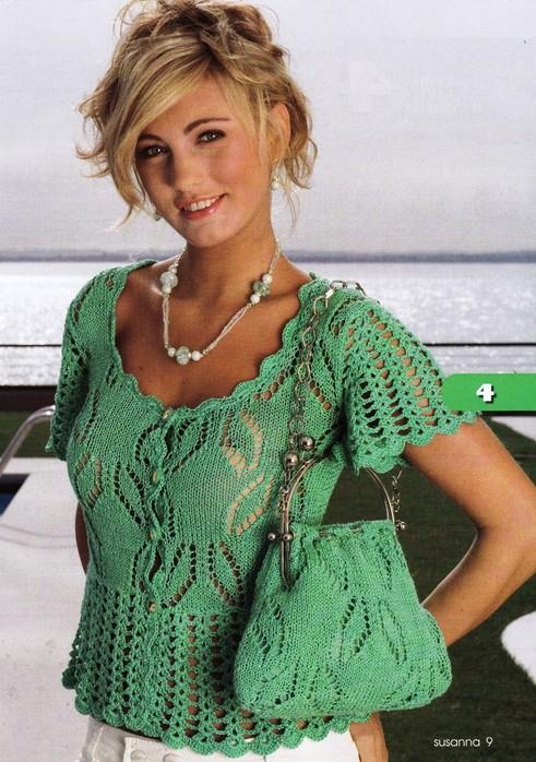 Блуза зелёная спицами
