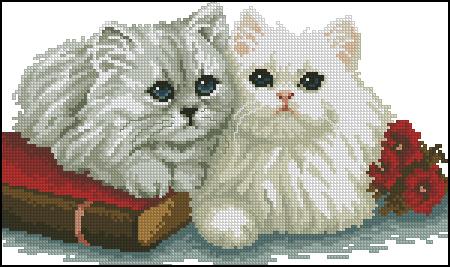 "Схема вышивки  ""Котята "": таблица цветов."