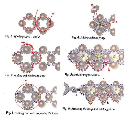 схема бус из бусин и цветочков. схема плетения бус из бусин.