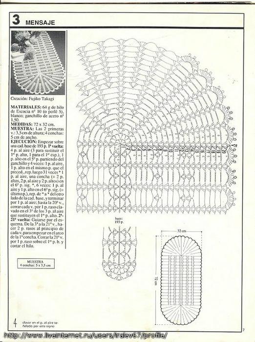Вязание крючком овальной салфетки схемы и описание на русском языке 80