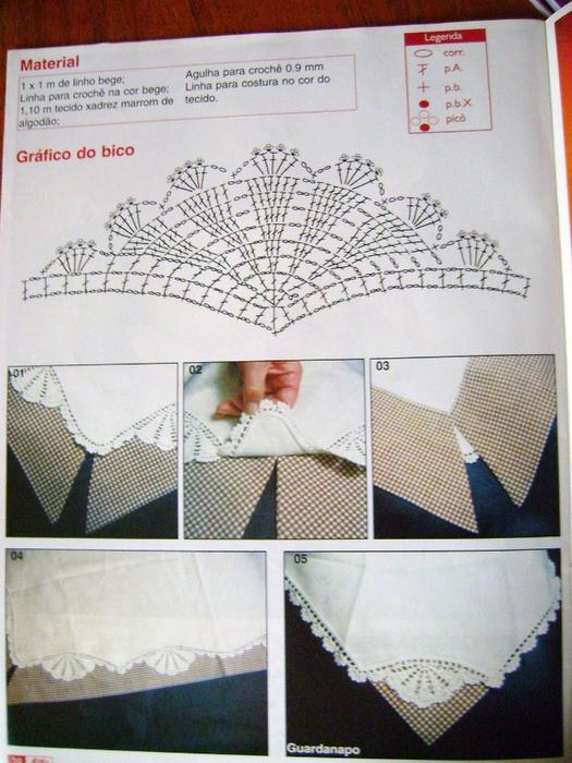 Обвязка края крючком.  Красивые идеи со схемами Простую белую скатерть можно красиво обвязать крючком.