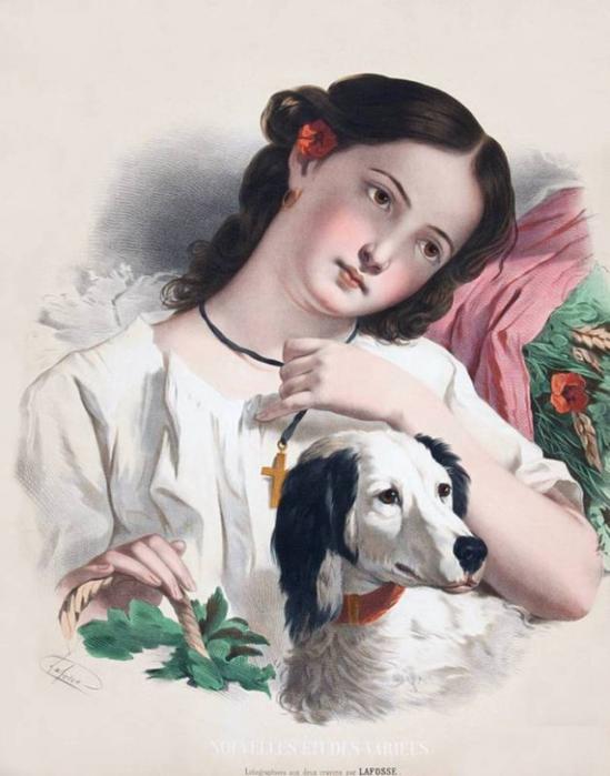 Юные девушки. Литография XIX век.