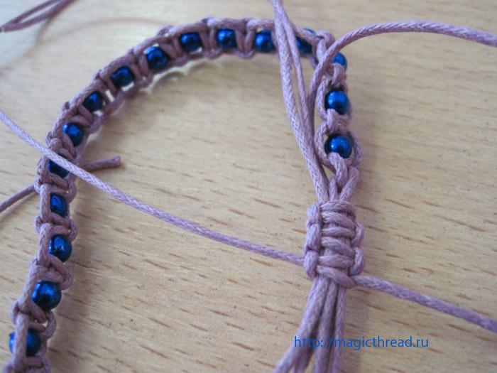 После плетения 4 узлов
