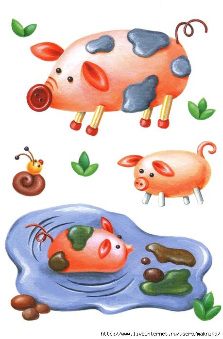 как слепить свинью. свинья из пластилина.