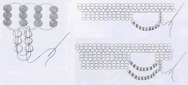 Добавьте первый столбик из трех бисерин для следующего треугольника и подхватите седьмую петлю, считая от места...