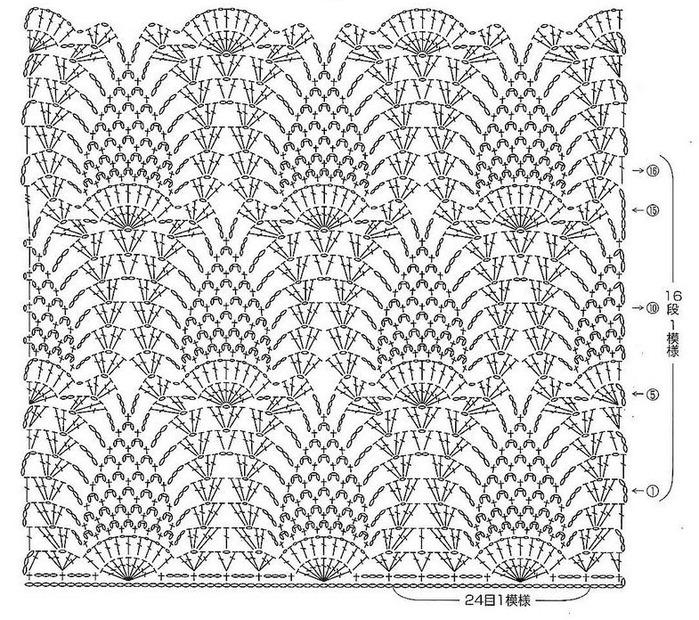 Узор ананас для вязания шали крючком