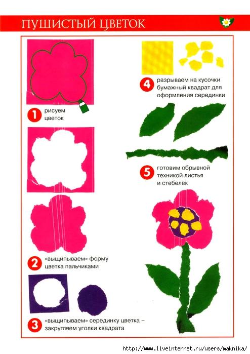 Аппликации из бумаги схемы шаблоны для детей цветы