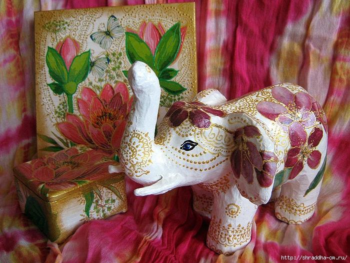 набор Розовый Лотос и Слон, автор Shraddha (3) (700x525, 358Kb)