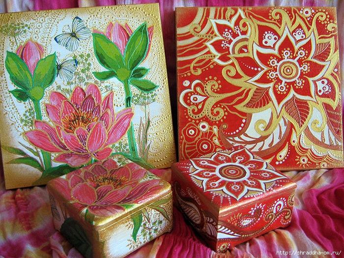 наборы Красная карамель и Розовый лотос, акрил, автор Shraddha (1) (700x525, 468Kb)