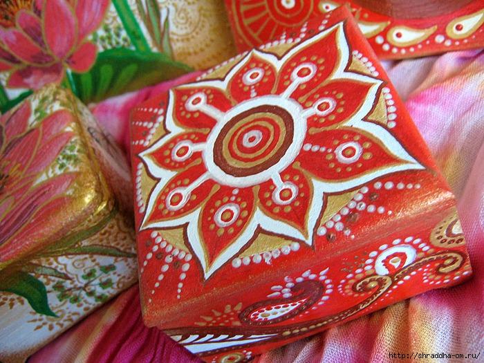 наборы Красная карамель и Розовый лотос, акрил, автор Shraddha (6) (700x525, 364Kb)