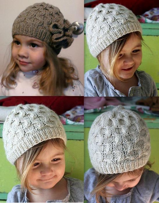 Вязание шапок спицами для девочек 8 лет