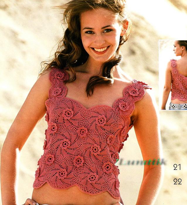 Вязаные блузки летние