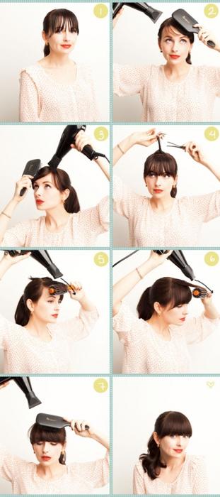 Причёски на каждый день своими руками с челкой