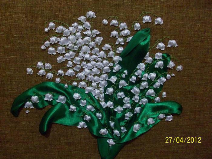 Схема вышивки лентами ландыш