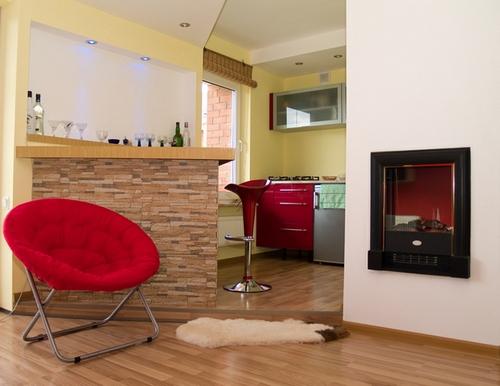 Третий способ зонирования в кухне, совмещенной с гостиной.