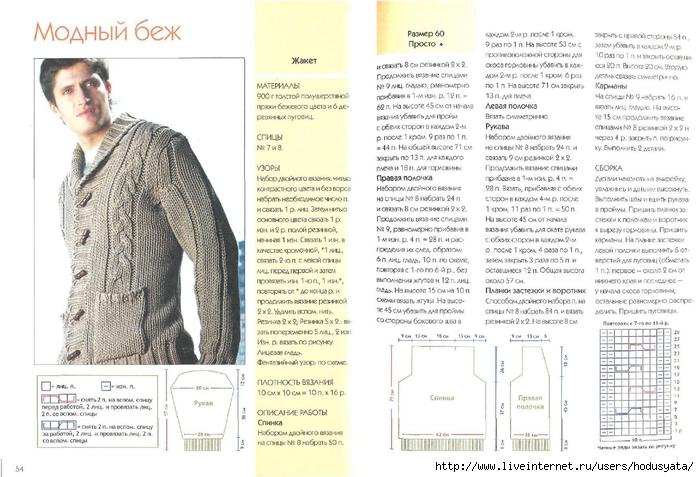 Вязание кардиган спицами для мужчин